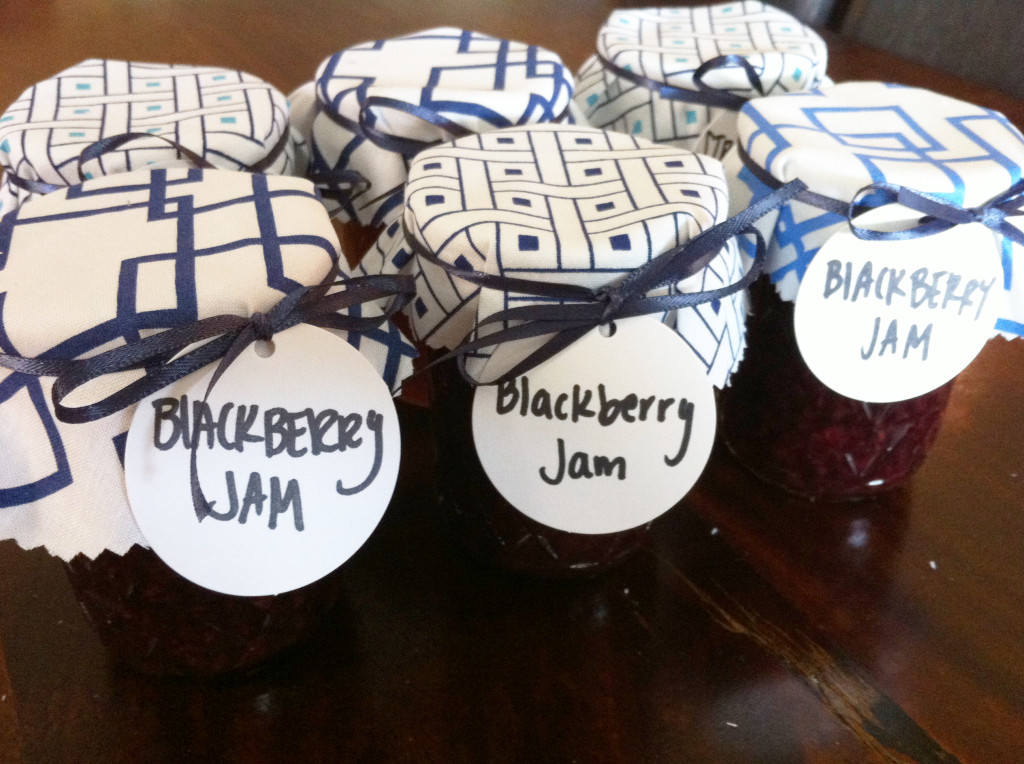 DIY fabric jar covers - homemade blackberry jam