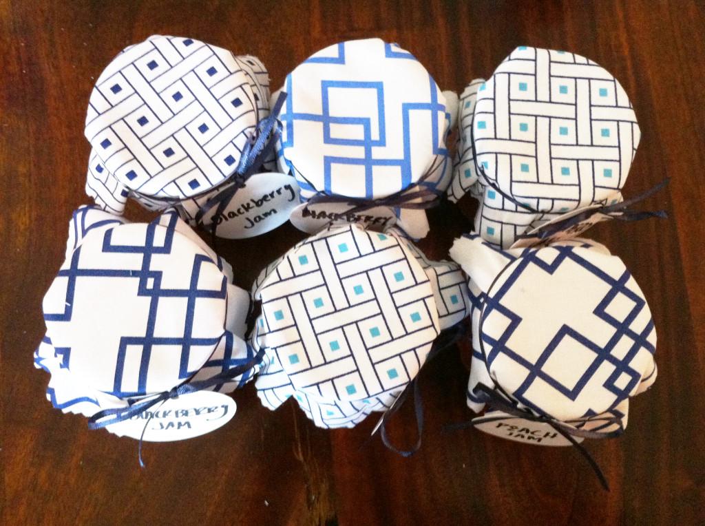 DIY fabric jar covers - top view