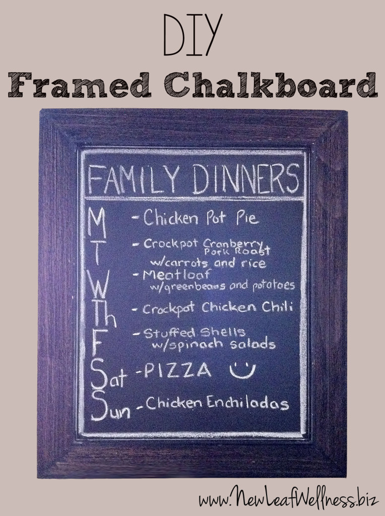 diy framed chalkboard dinner menu
