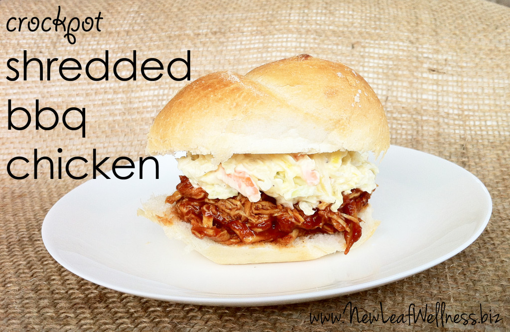 five chicken crockpot recipes - shredded bbq chicken