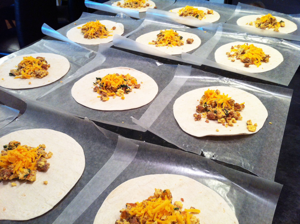 freezer to microwave breakfast burritos assembly line