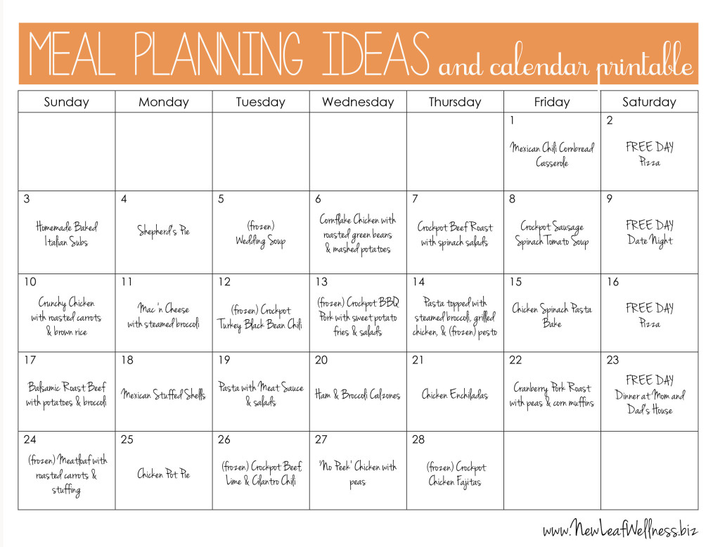 meal planning ideas and calendar printable