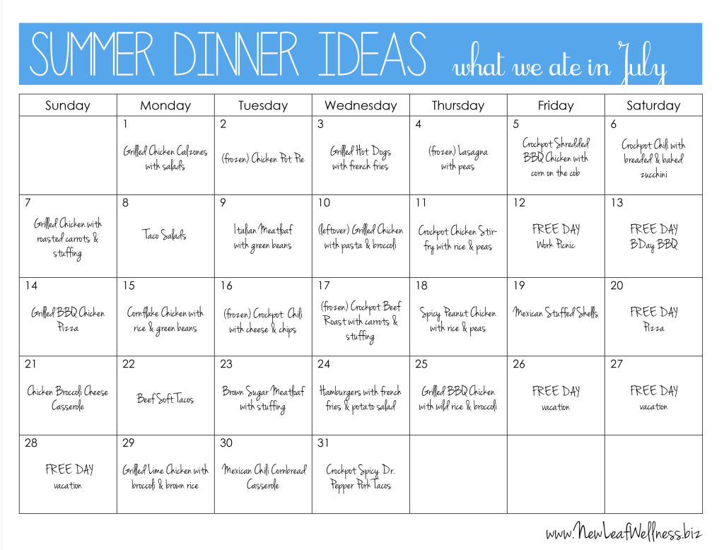 summer dinner ideas what we ate in july