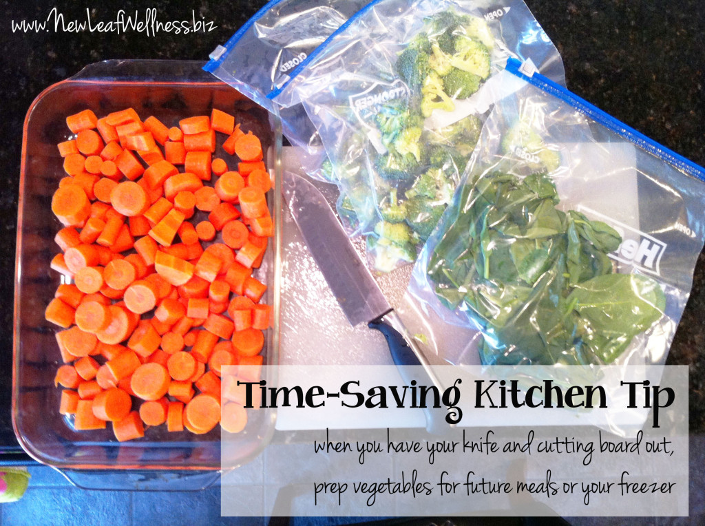 time saving kitchen tip chop all vegetables at once