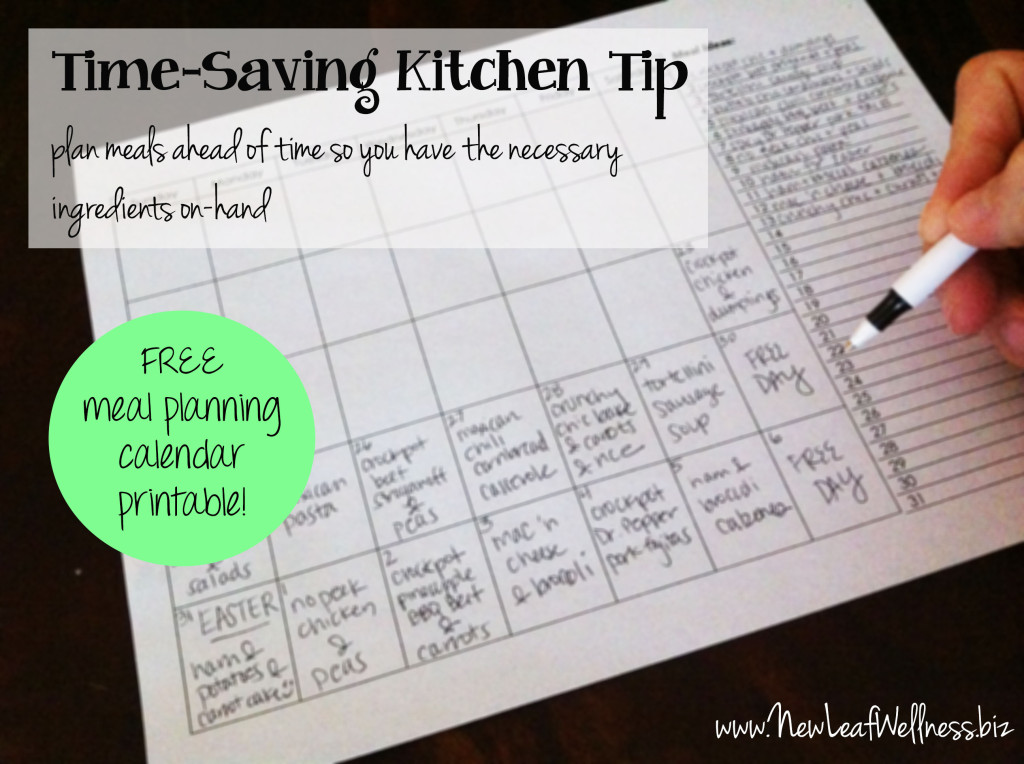 time saving kitchen tips - meal planning