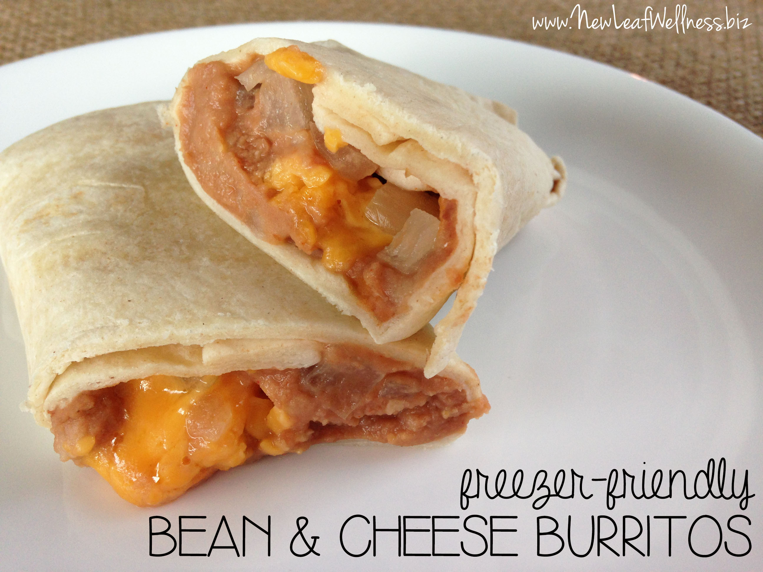 Freezer friendly bean and cheese burritos | New Leaf Wellness