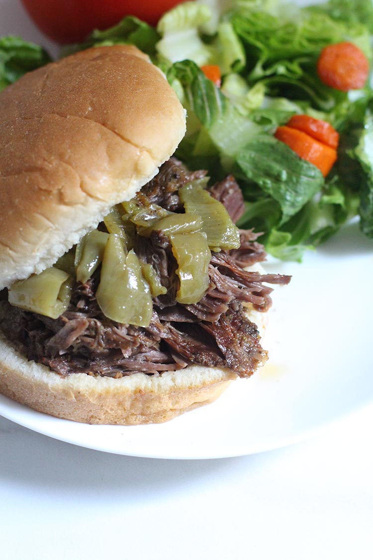 Slow Cooker Banana Pepper Shredded Beef
