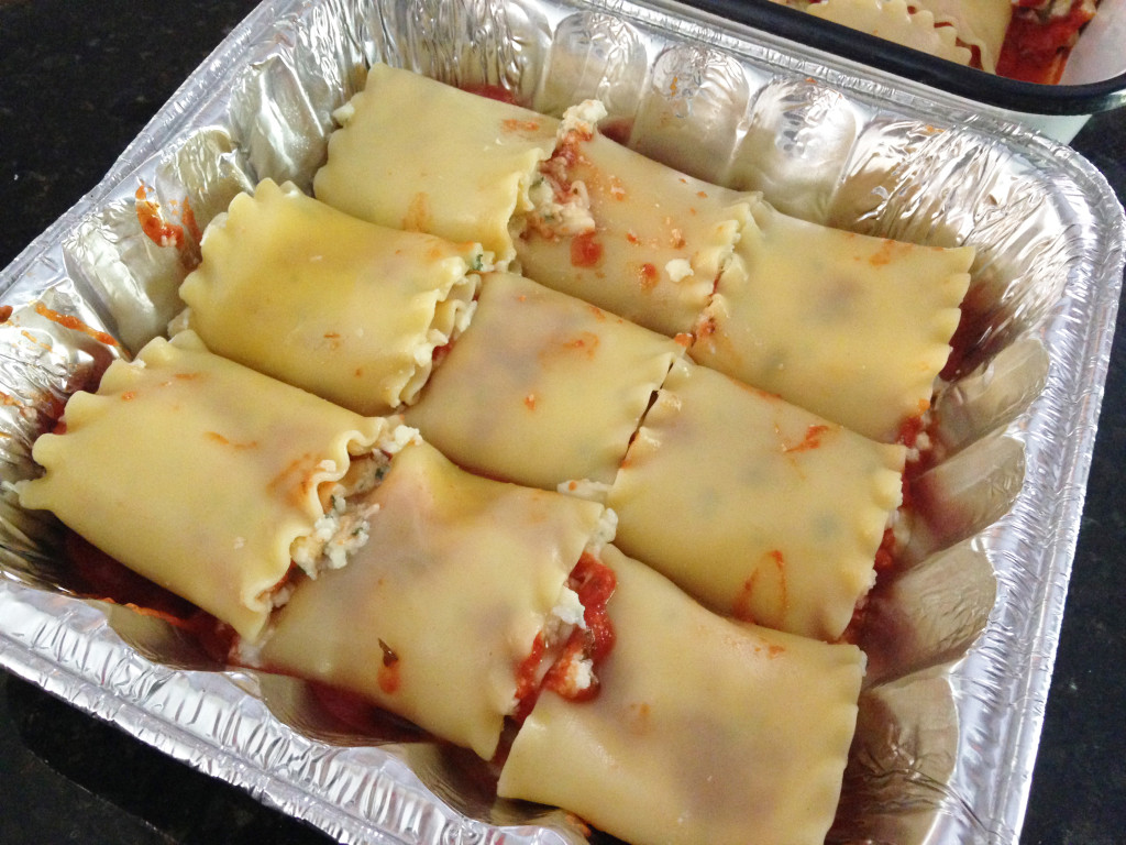 Freezer friendly lasagna roll up recipe in pan