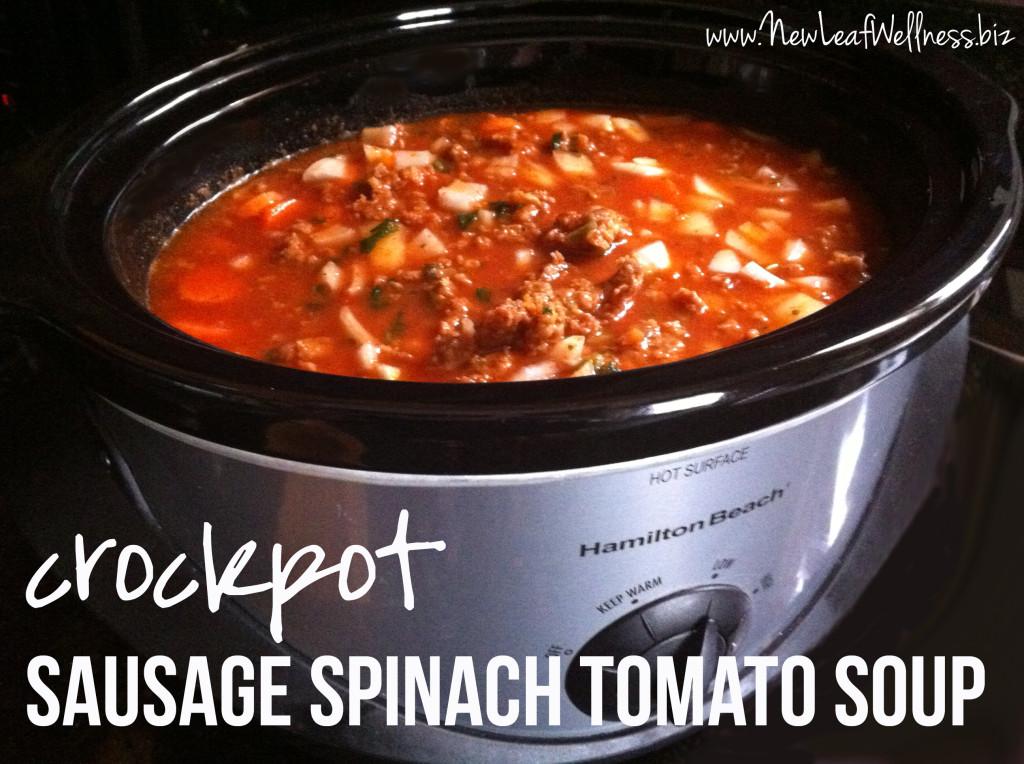 Crockpot Soup Recipes - Sausage Spinach Tomato Soup