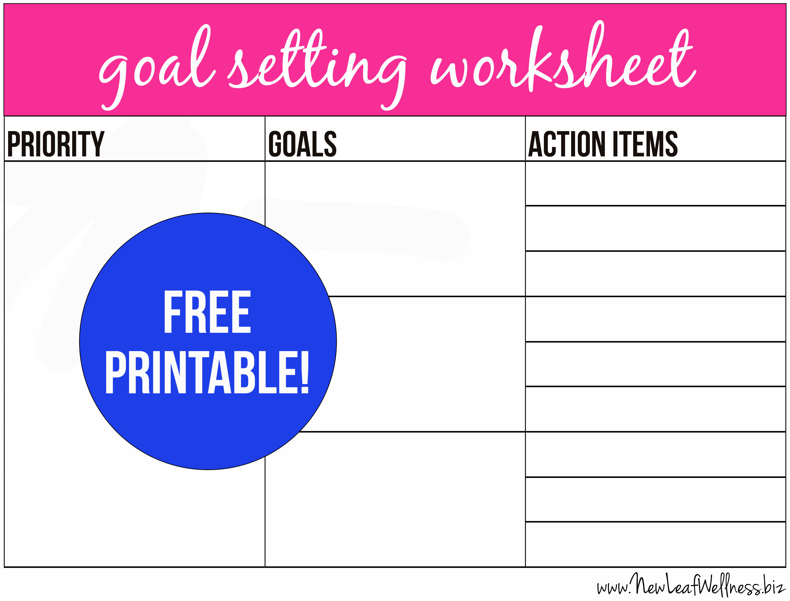 Free printable goal setting worksheet and instructions | The Family ...