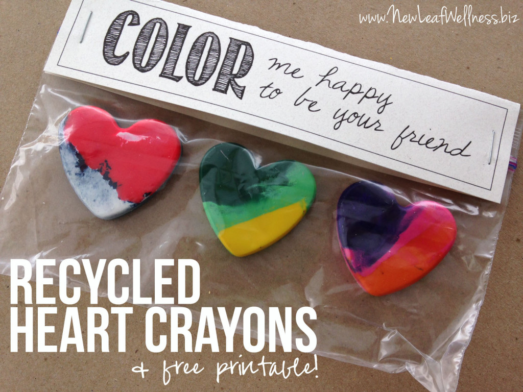 Recycled Heart Crayons and Free Printable Gift Tag