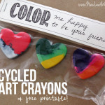 Recycled heart crayons and printable