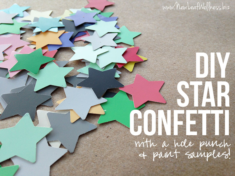 DIY Star Confetti with a hole punch and paint samples