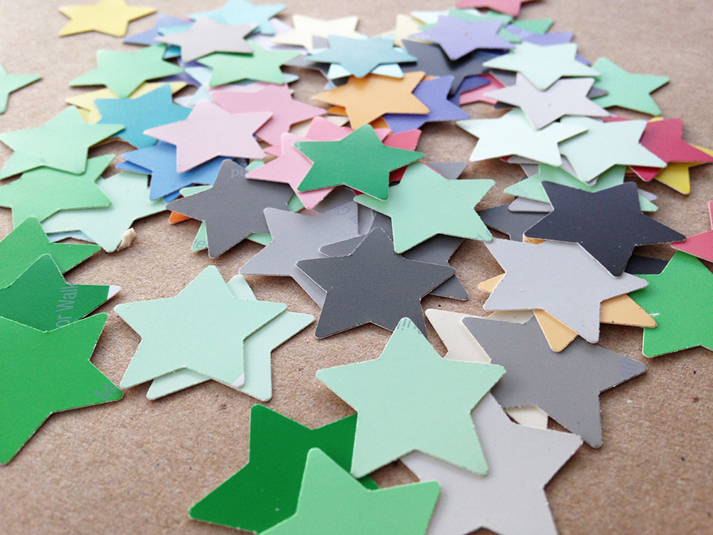 DIY confetti stars made with paint samples