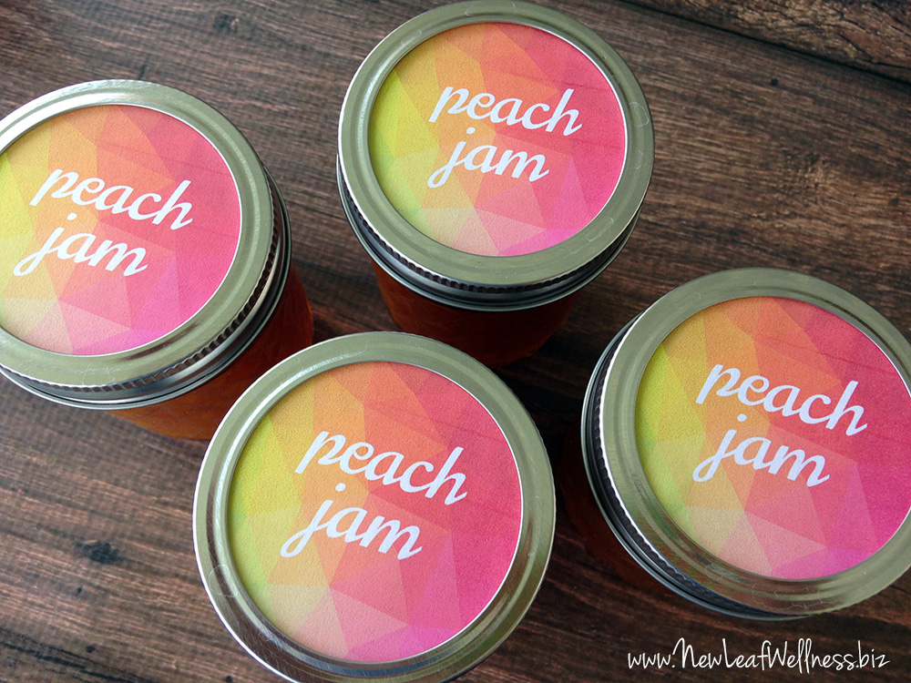 Free printable canning label for peach jam