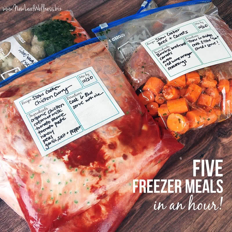 Five Freezer Slow Cooker Meals in an Hour