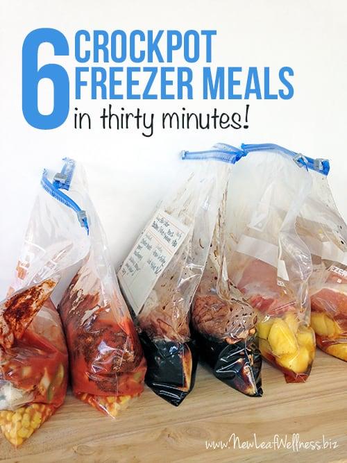6 Freezer Crockpot Meals in 30 Minutes