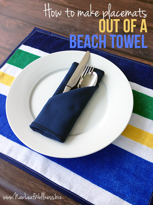 How to make 6 placemats out of a beach towel