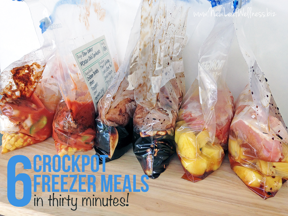 Six Freezer Crockpot Meals in Thirty Minutes