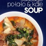Super easy soup with sausage, potato, and kale!