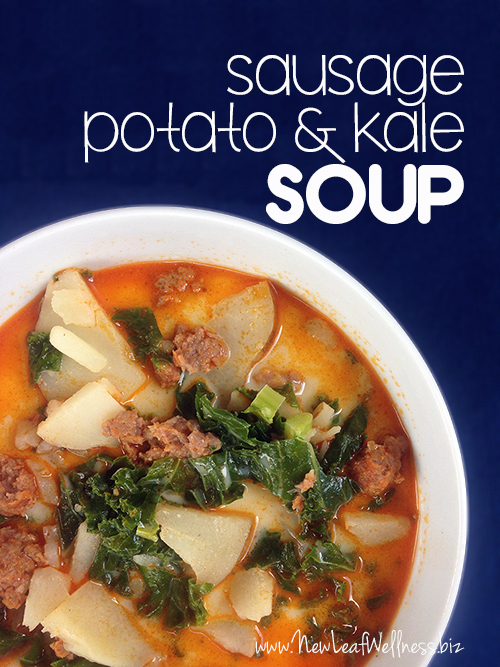 Super easy recipe for sausage, potato, and kale soup