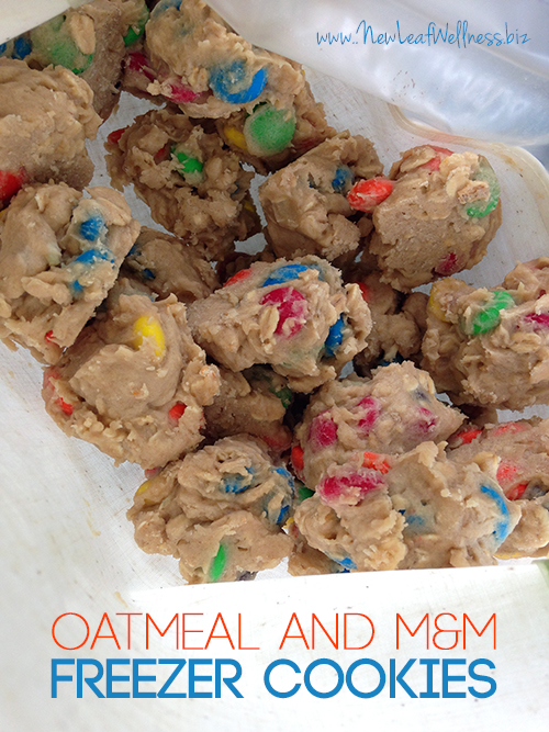 Freezer Cookie Recipe with Oatmeal and M&Ms