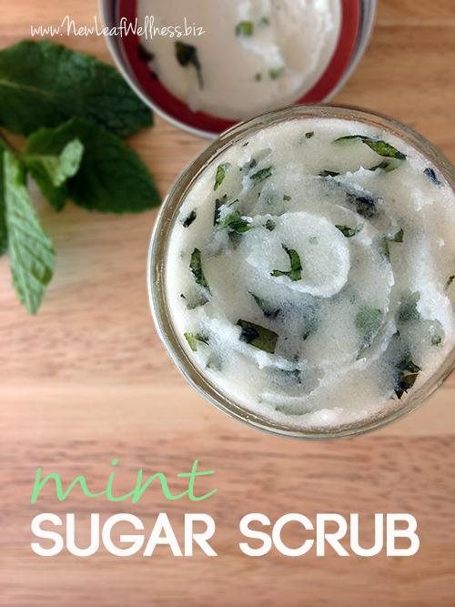 Homemade mint sugar scrub
