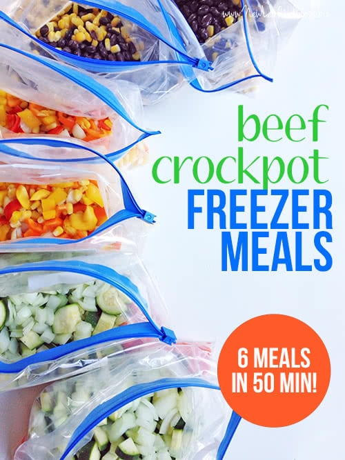 Six Ground Beef Crockpot Freezer Meals in 50 Minutes