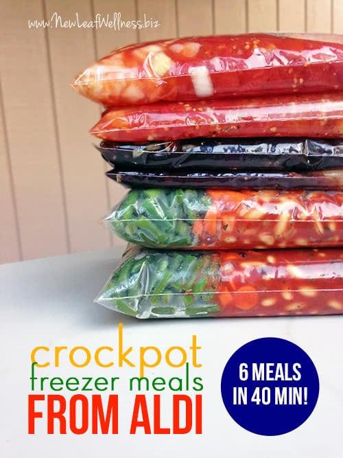 Six Crockpot Freezer Meals from Aldi in 40 Minutes
