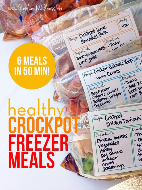 Six Healthy Freezer Crockpot Meals in 50 Minutes