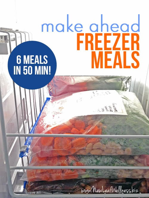 Six Make Ahead Freezer Meals in 50 Minutes