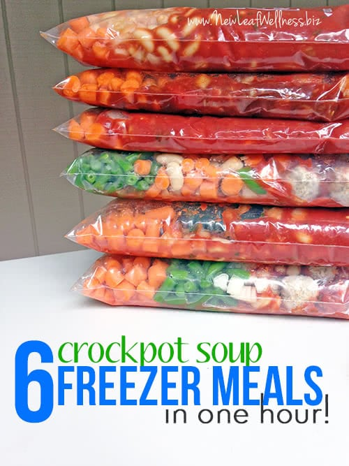 Six crockpot soup freezer meals in one hour