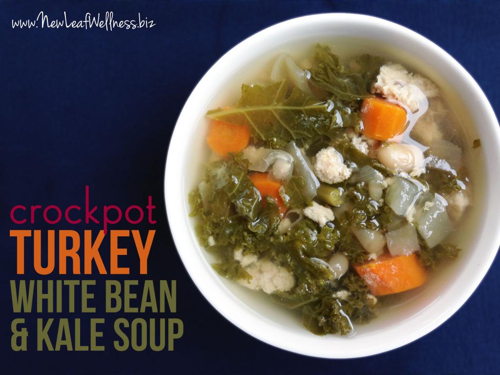 Crockpot Turkey White Bean and Kale Soup