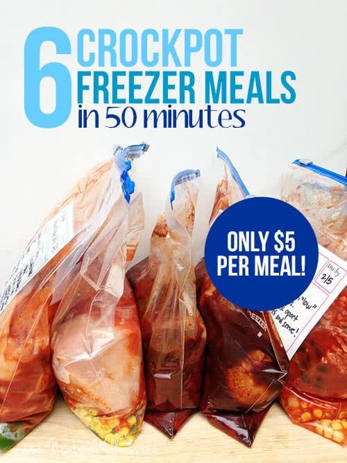 Six Cheap Freezer Crockpot Meals in 50 Minutes