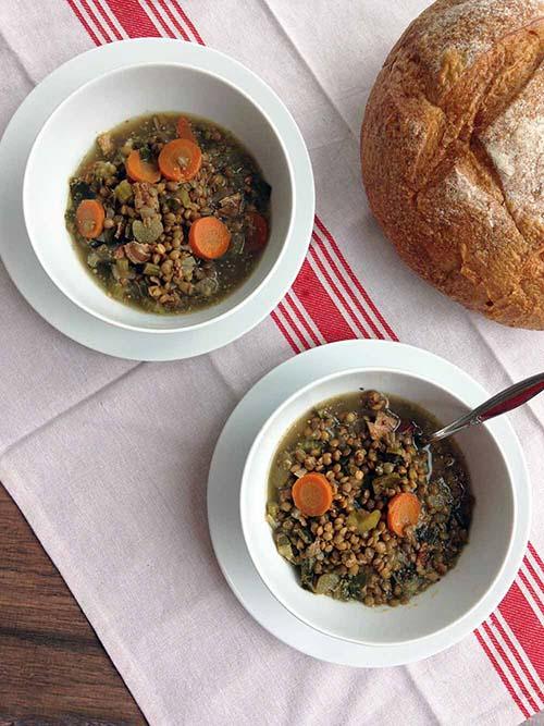 Crockpot Bacon Lentil Soup