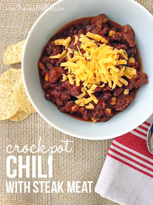 Crockpot Chili Made with Steak Meat