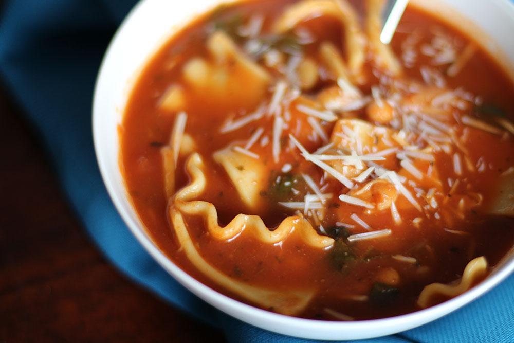 Simple Slow Cooker Lasagna Soup close up