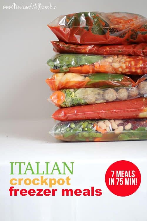 Italian Crockpot Freezer Meals (7 meals in 75 minutes!)