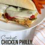 Crockpot chicken philly cheesesteak
