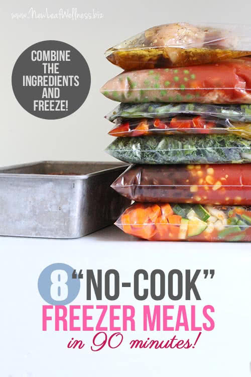 "Make 8 ""No-Cook"" Freezer Meals in 90 Minutes! Simply combine the ingredients and freeze."