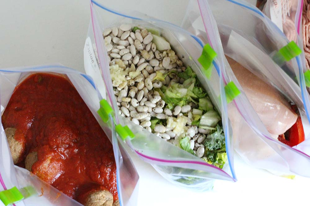 """Make 8 """"No-Cook"""" Freezer Meals in 90 Minutes! Simply combine the ingredients and freeze."""