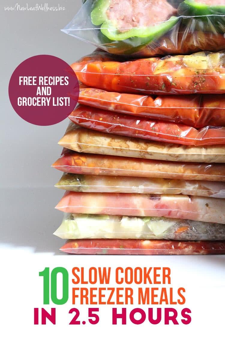 10 Slow Cooker Freezer Meals in 2.5 Hours