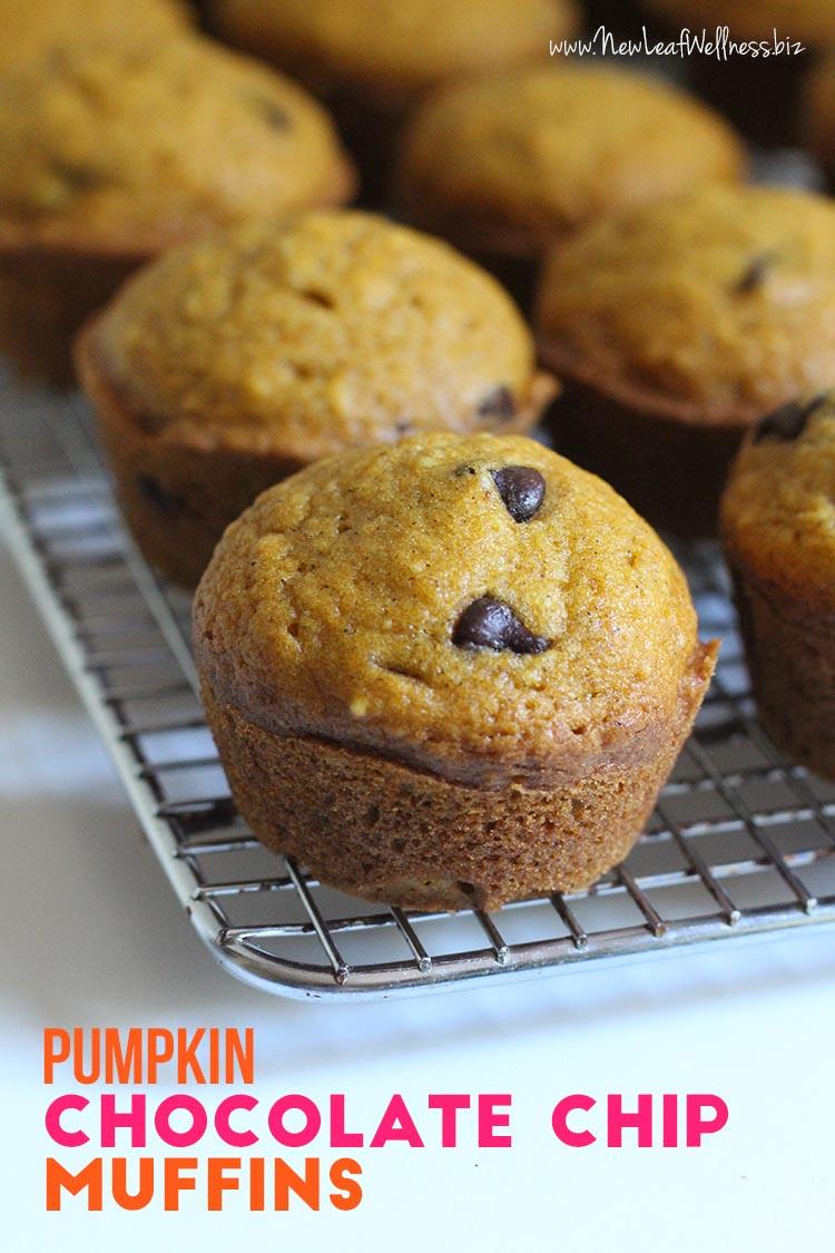 Pumpkin Chocolate Chip Muffins (Freezer-Friendly!) | New Leaf Wellness