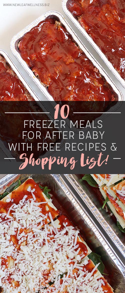 10 Freezer Meals for After Baby With Free Recipes and Shopping List!