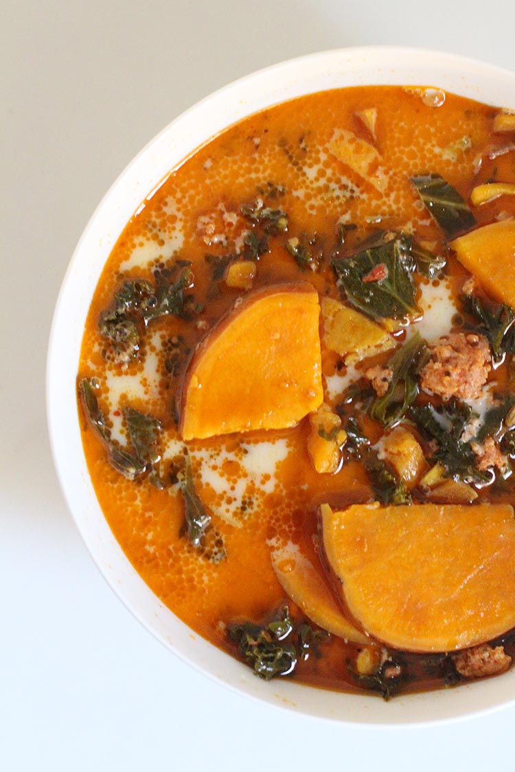 Slow Cooker Zuppa Toscana with Sweet Potatoes