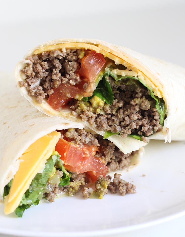 Freezer-to-Microwave Burger Burritos