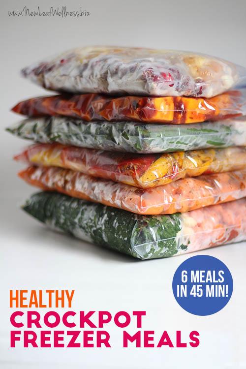 6 Healthy Freezer Crock Pot Meals in 45 Minutes