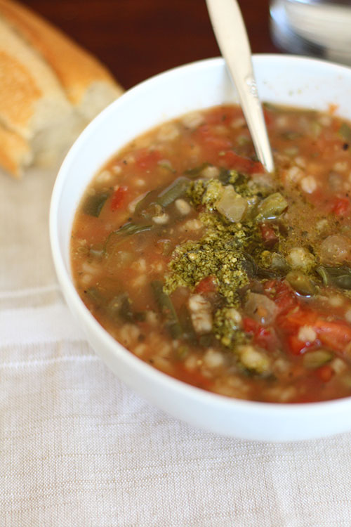 Crockpot Vegetarian Garden Vegetable Soup with Pesto (Panera Copycat)