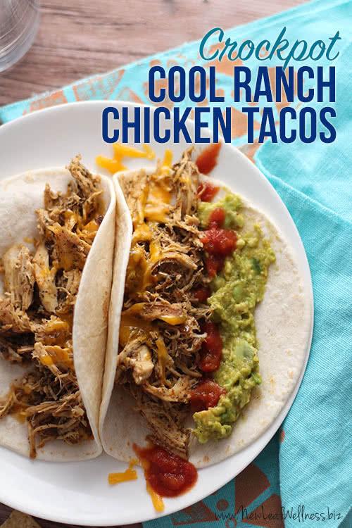 Crockpot Cool Ranch Shredded Chicken Tacos