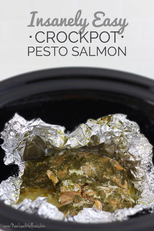 Insanely Easy Crockpot Pesto Salmon Foil Pack